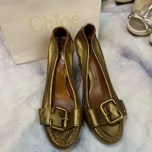 CHLOE gold leather heels eu36